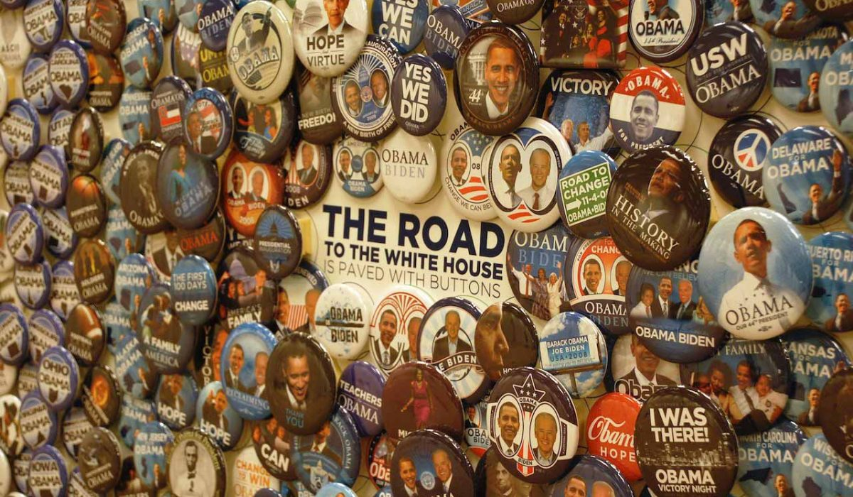 The Road to The White House campaign buttons